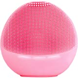 Zyllion Silicone Facial Cleansing Brush - Electric Face Scrubber Massager for Gentle Exfoliating, Deep Cleanse, Skin Care - IPX7 Waterproof and Rechargeable (Pink)