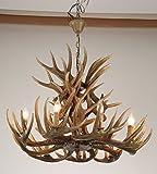 Garwarm Vintage Style Resin Antler Chandelier 9 Lights, Living Room Bar Cafe Dining Room Bedroom Study Villas American Retro Deer Horn Pendant Lights
