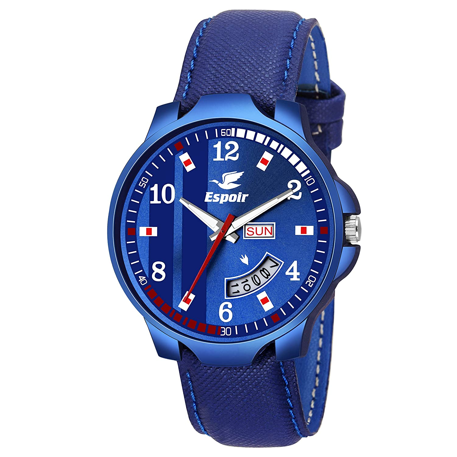 Espoir Analogue Blue Dial Day and Date Men's Boy's Watch - BDart