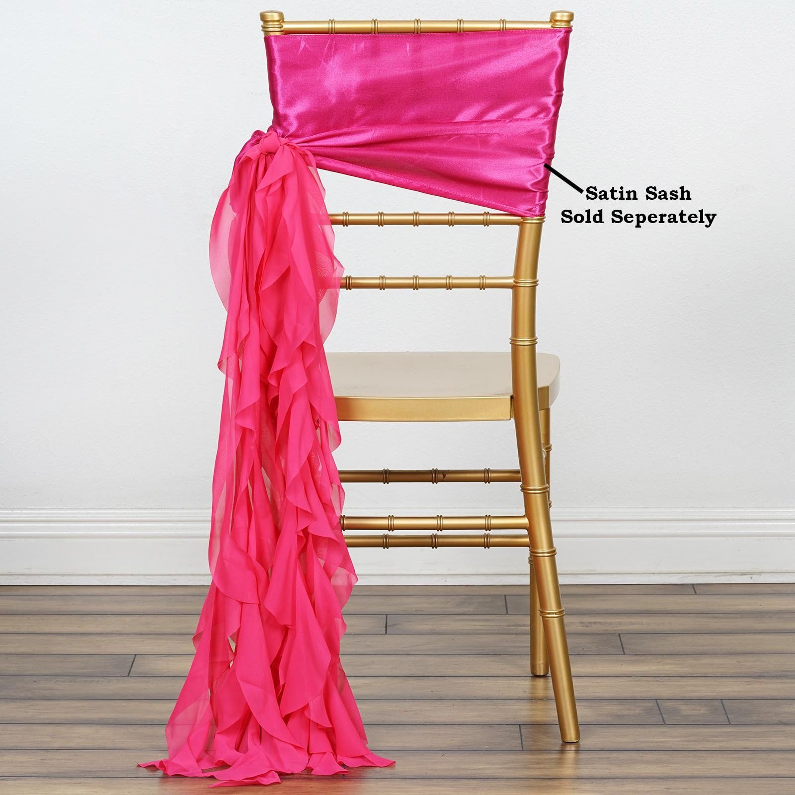 Efavormart Tableclothsfactory 5pcs Chiffon Fushia Curly Chair Sashes For Home Wedding Birthday Party Dance Banquet Event Decoration