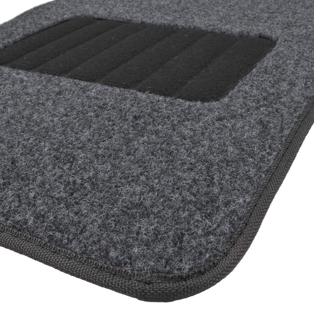 0.3 Carpet Ounce BDK MotorTrend Premium Thick Plush Carpet Car Ridged Floor Mats Dark Gray
