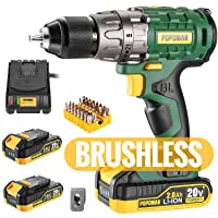 """Cordless drill, Brushless 20V 1/2"""" Drill Driver, 2x2000mAh Batteries, 530 In-lbs Torque, 21+1 Torque Setting, Fast Charger 2.0A, 2-Variable Speed, 33pcs Accessories"""