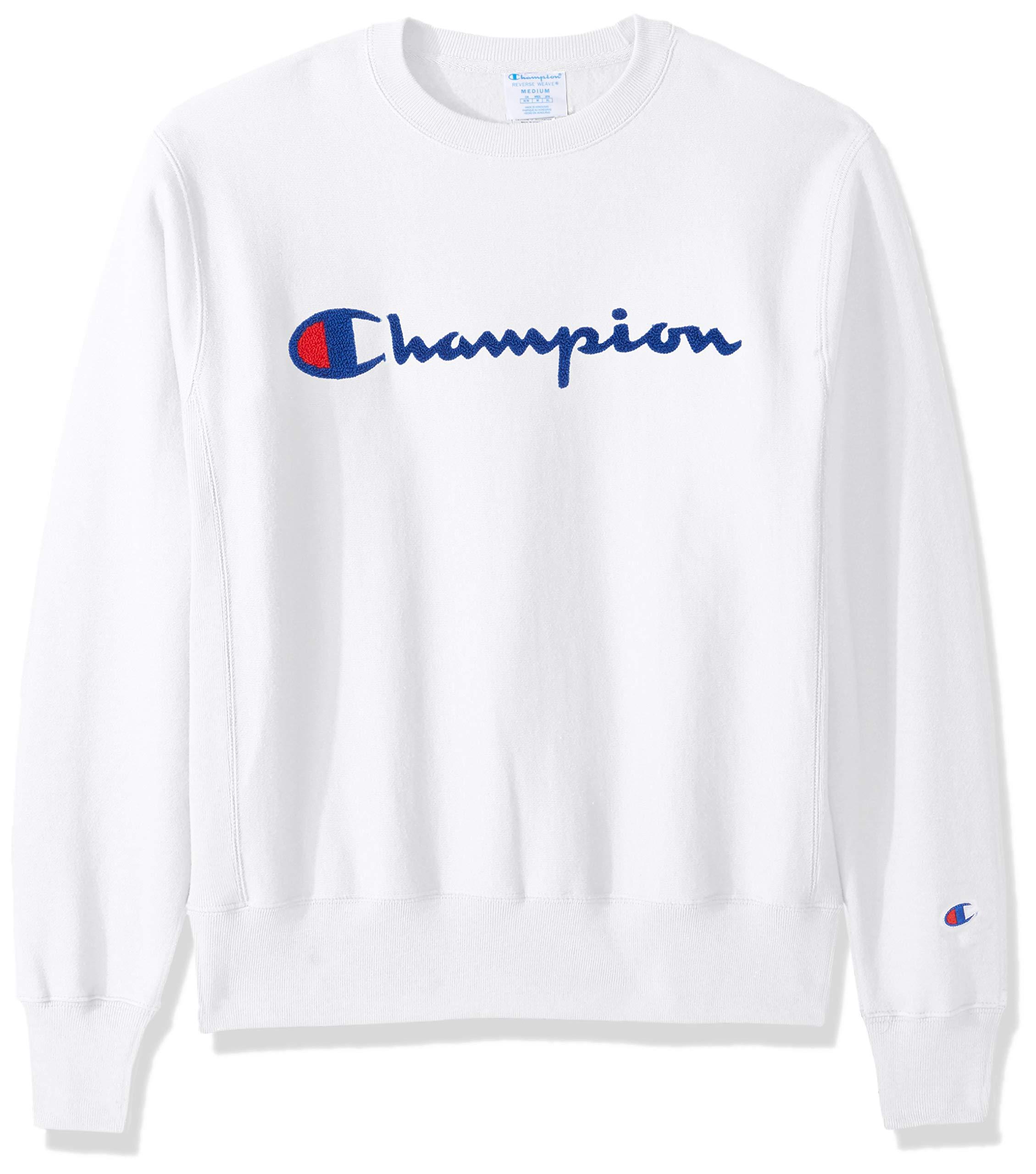 Champion LIFE Men's Reverse Weave Sweatshirt, White/Chenille Script, Medium