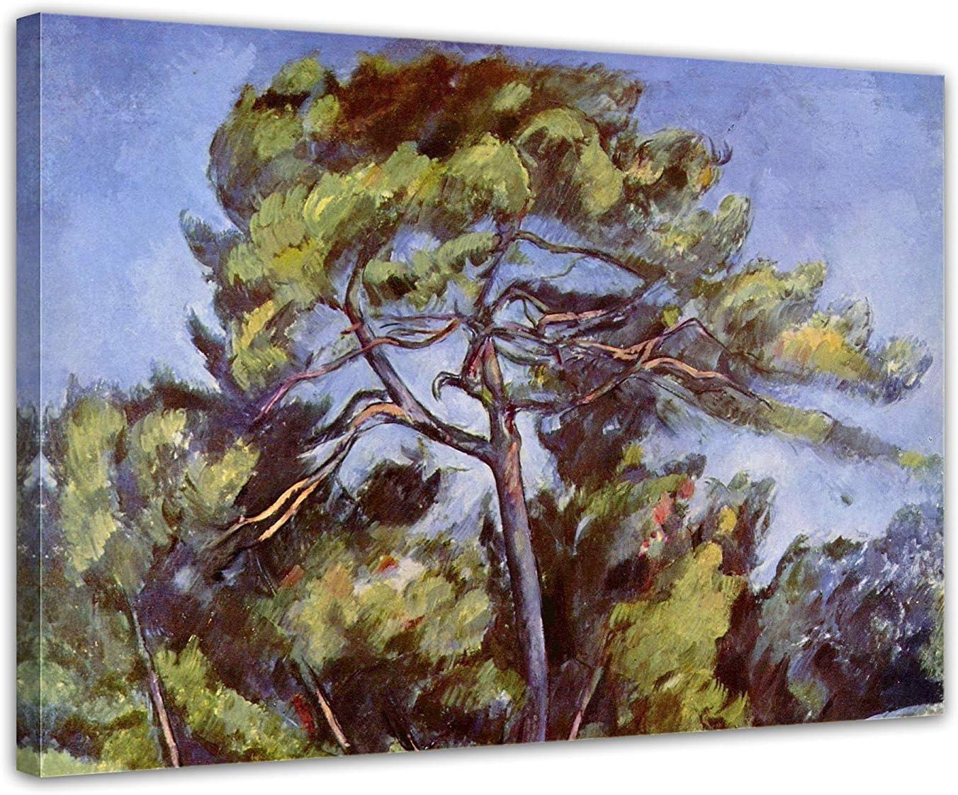 LVLUOYE Cuadros Dormitorios - Arte Pared Pintura sobre Lienzo - Pintura al óleo Pintada a Mano - Paul cézanne el Gran Pino - Copia la Pintura del Famoso Maestro,80x60cm