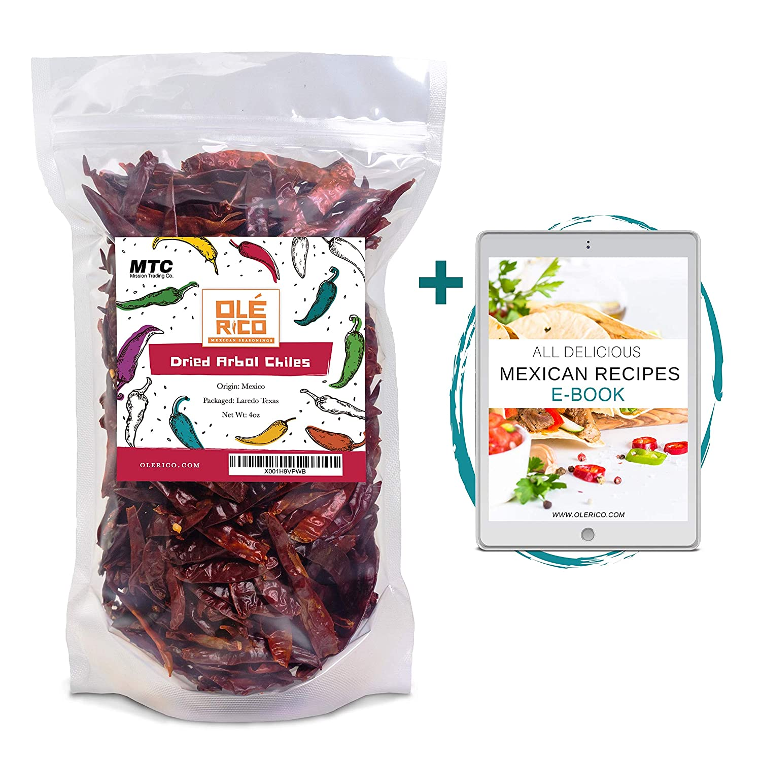 Chilis De Arbol 4 oz Spicy Heat Natural Whole Dried Peppers For Mexican Recipes by Ole Rico