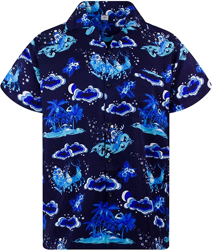 Funky Camisa Hawaiana Navidad, Christmas Island, Mono Blue, XS: Amazon.es: Ropa y accesorios