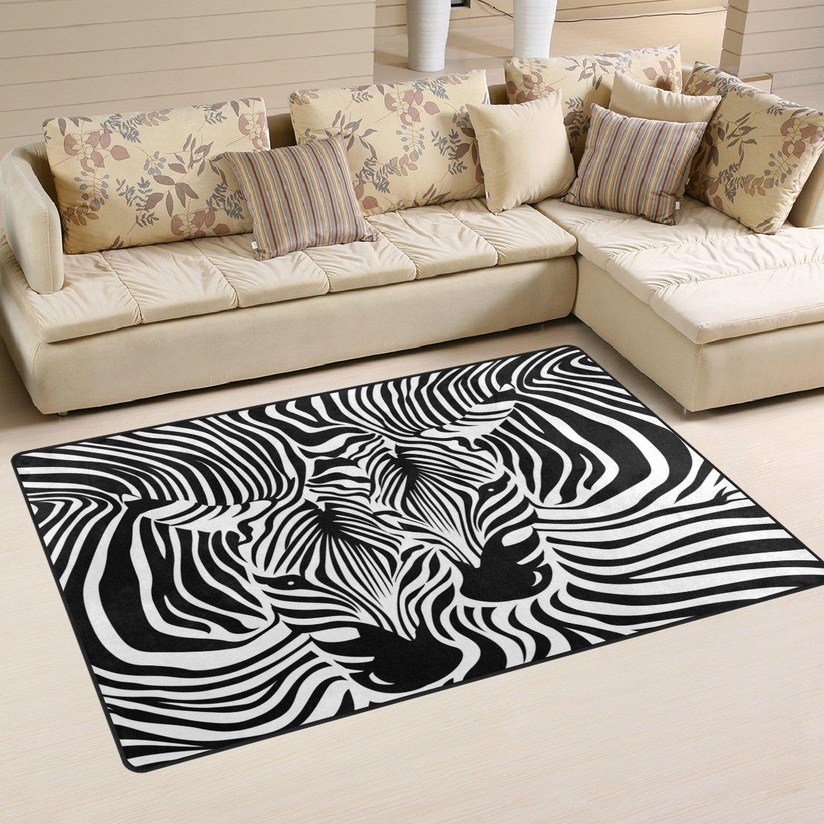 WOZO Abstract Animal Zebra Print Area Rug Rugs Non-Slip Floor Mat Doormats Living Room Bedroom 60 x 39 inches