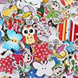 Crystallove Mixed Cartoon Buttons Lot for Sewing Fasteners Scrapbooking and DIY Handmade Craft with Different Color and Style (cartoon style-50pcs)