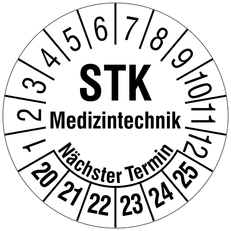 Labelident Prüfplaketten - STK Medizintechnik/Nächster Termin, Mehrjahresprüfplakette, Zeitraum 2021-2026, Ø 30 mm, 144 Stück, Dokumentenfolie weiß, Aufdruck schwarz