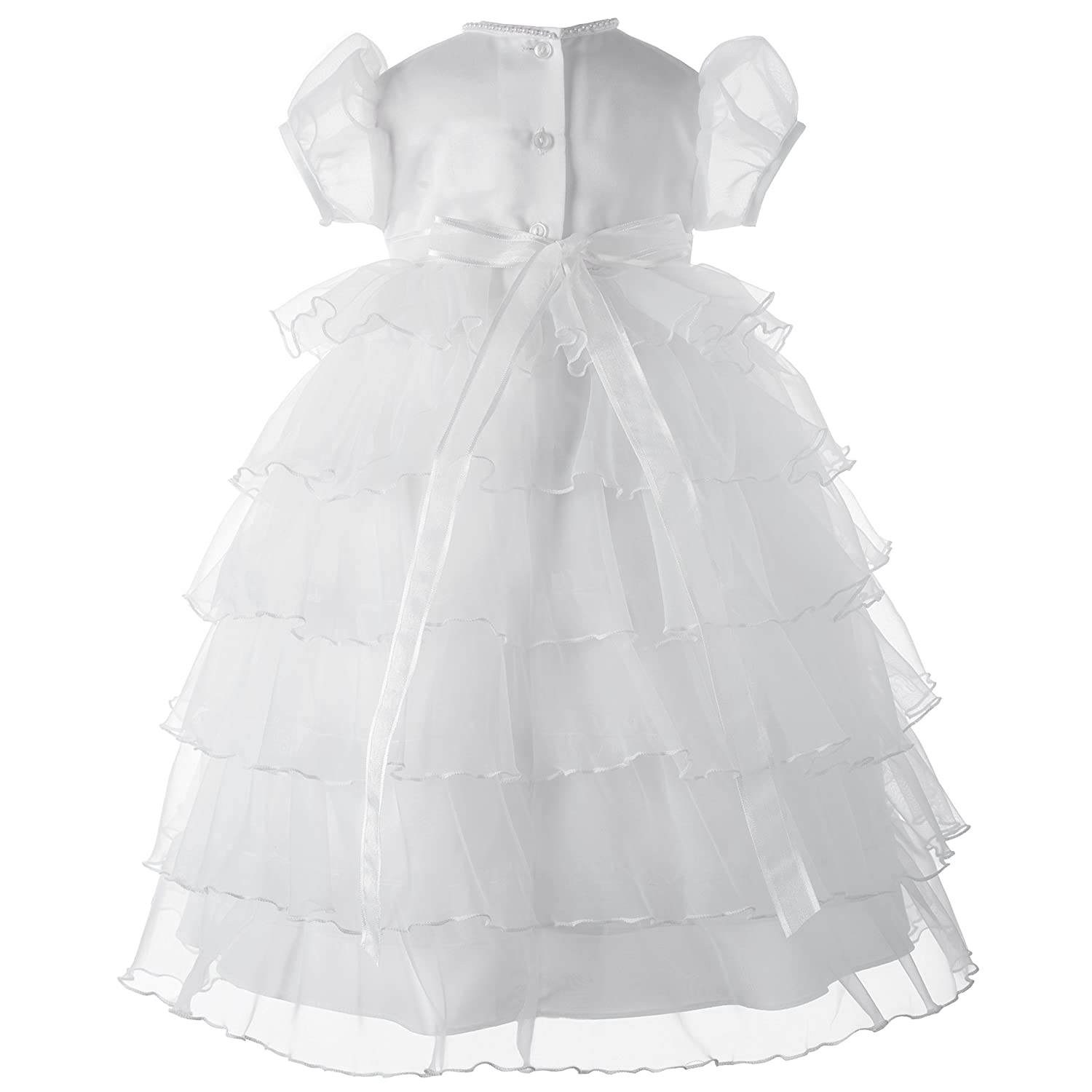 Lauren Madison baby girl Christening Baptism Multi Tiered Gown With Satin Bodice White 6-9 Months Haddad Brothers Clothing 1340