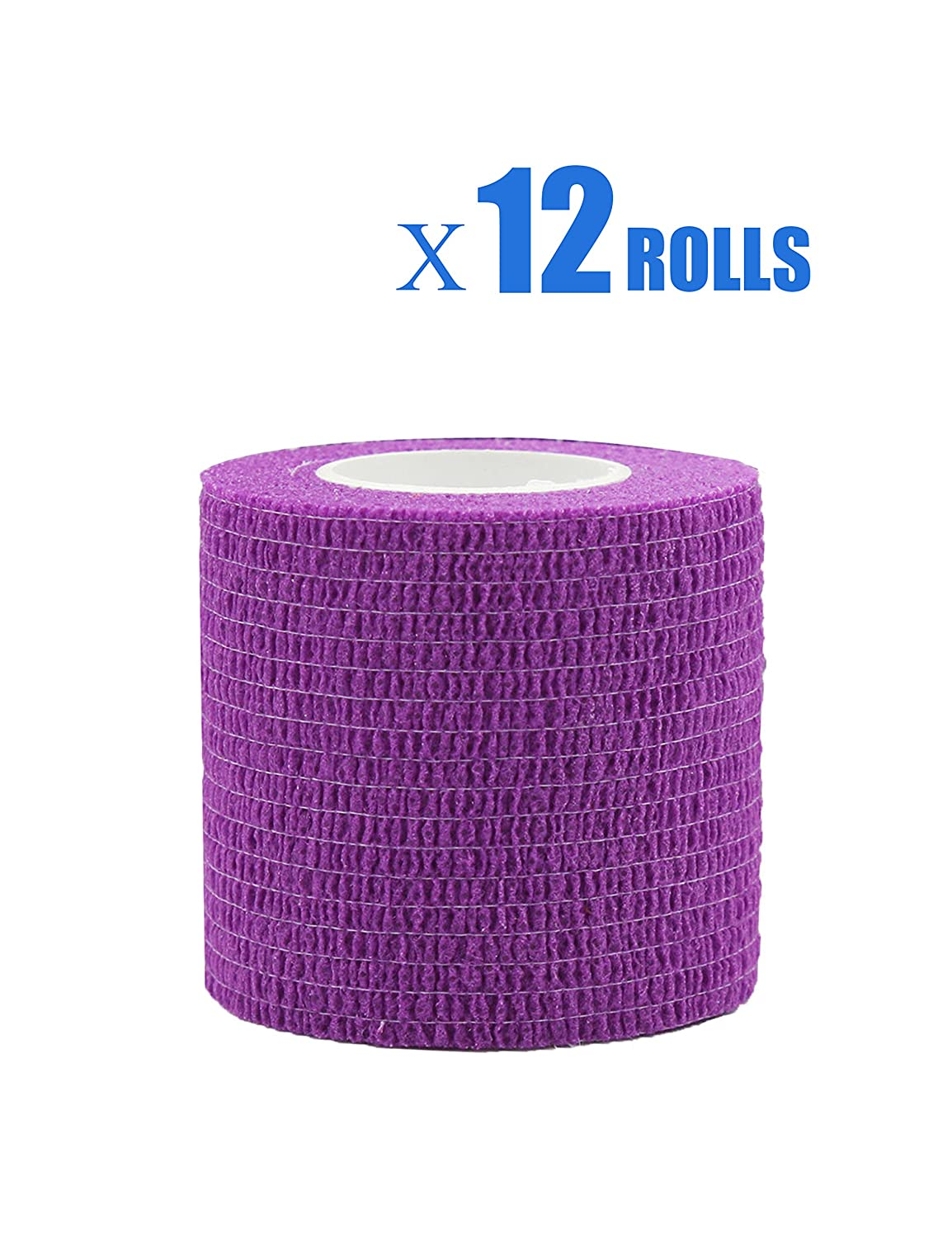 Risscly Lila 5cm cohesive Bandage,selbsthaftende fixierbinde verband bandage mullbinden selbsthaftend bandagen 12 Rollen