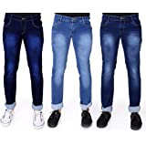 RAGZO Men's Multicolor Slim Fit Stretchable Fabric Casual Wear Denim Jeans (Pack of 3)