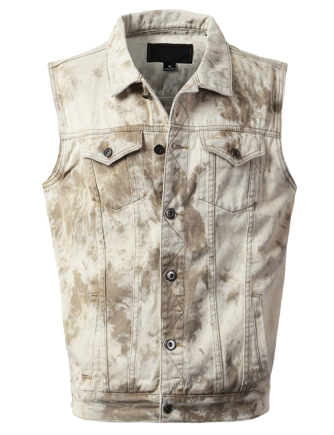 URBANCREWS Mens Hipster Hip Hop Fashion Denim Vest Jacket Tan, XL