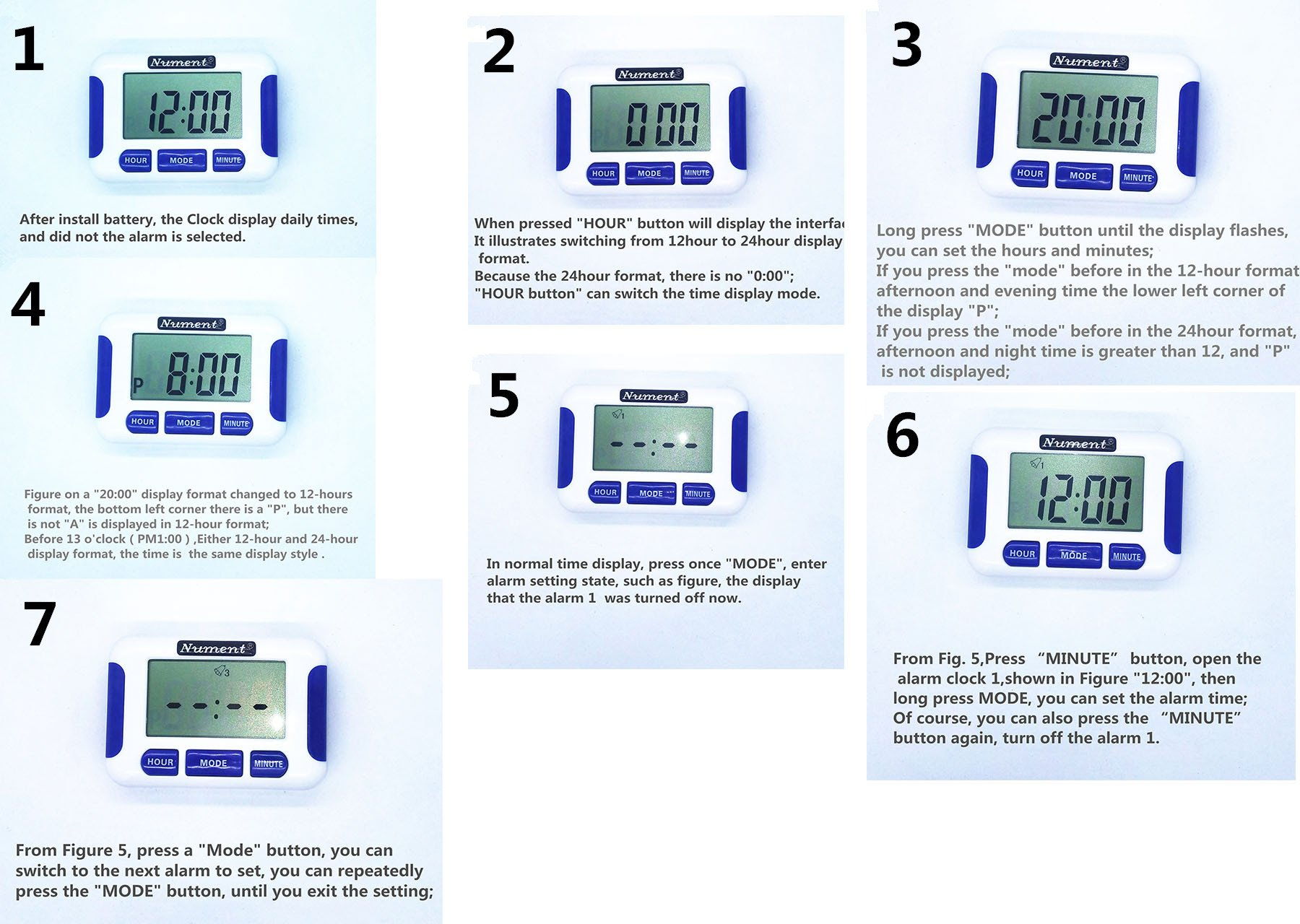Nument 5 times Alarm style Timer with Clock for study Work efficiency medicine remind and nursing baby by Nument
