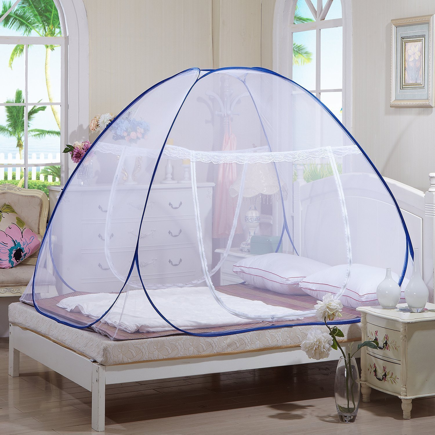 Tailbox Portable Mosquito Net - Sleep Screen Pop-Up Mosquito Net Bed Guard Tent Folding Attached Bottom with Zipper Anti-Mosquito Cloth for Babies Adult Travel Camping (150cm x 200cm)