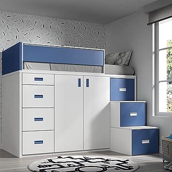 Möbel Ros Hochbett mit Schrank und Schubladen 165dbm x 204 x ...