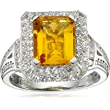 Sterling Silver, Created Sapphire, and Citrine Ring, Size 7