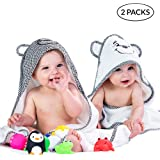 婴儿连帽浴巾 黑白色 2 件装