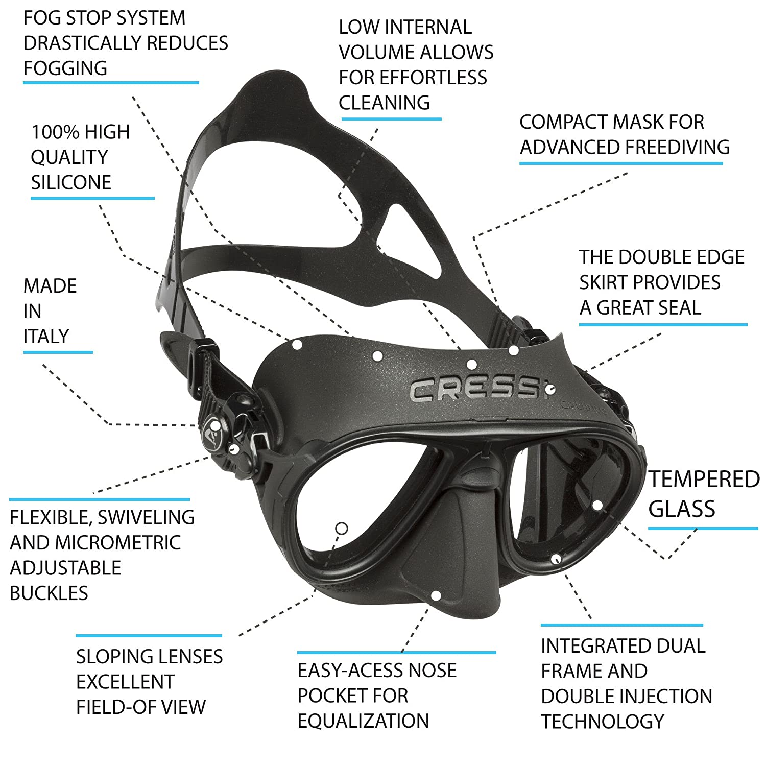 e3dd6134af7 Cressi Calibro FOG STOP SYSTEM - Professional Diving   Snorkeling Mask   Amazon.co.uk  Sports   Outdoors