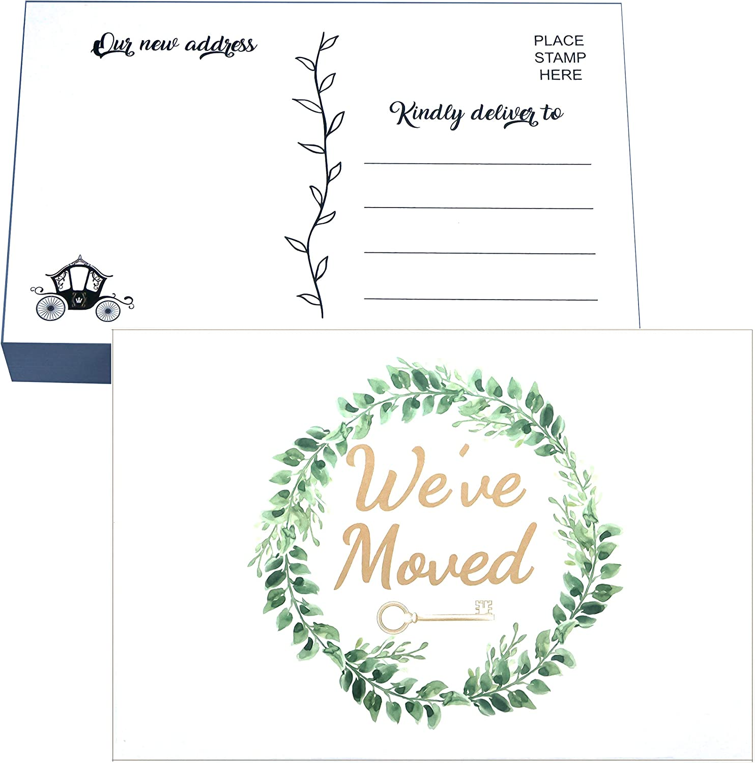 RXBC2011 50 We've Moved Postcards Green Leaf Moving Announcement Cards Just Moved Change of Address New Home Postcards