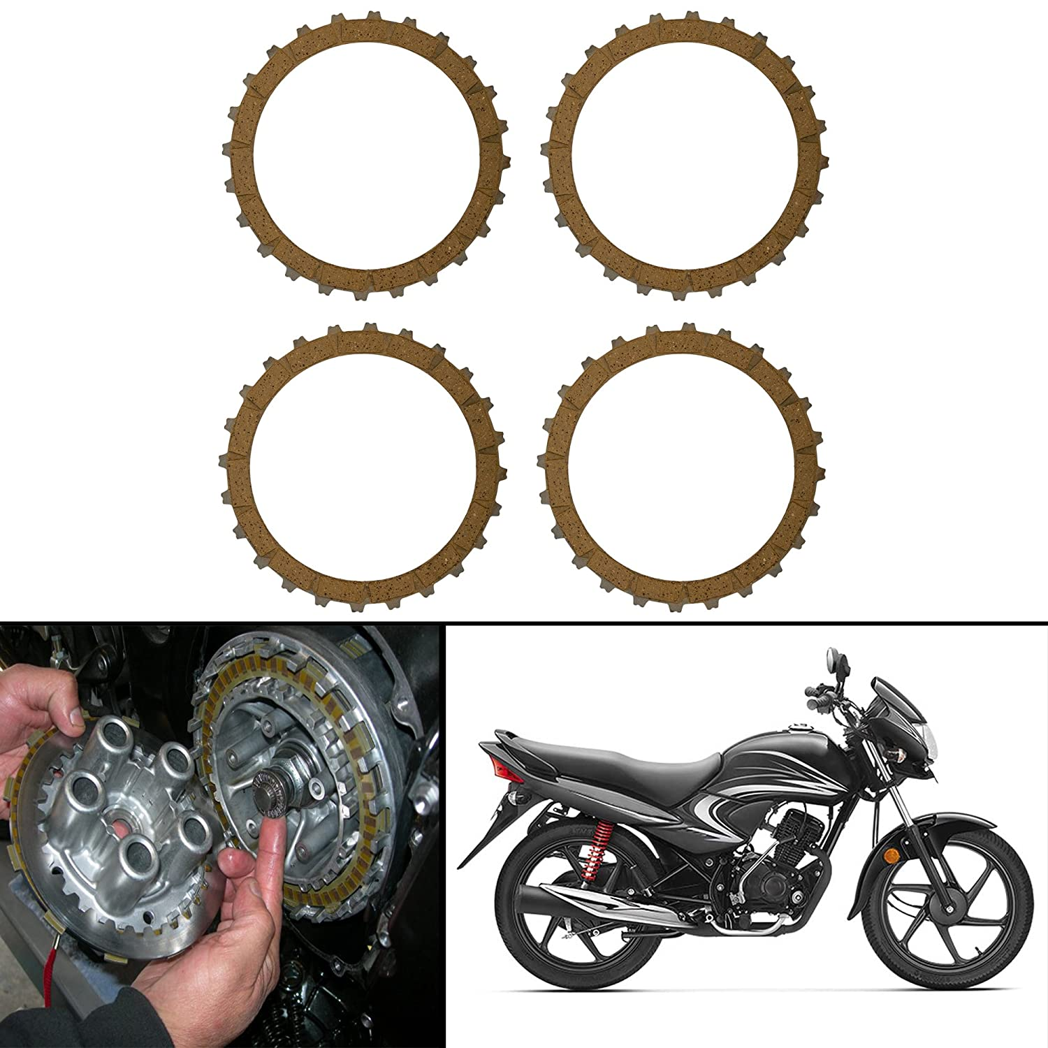 Autofy Highly Durable Steel Clutch Plates Clutch Disc For Honda Dream Yuga New Set Of 4 Amazon In Car Motorbike