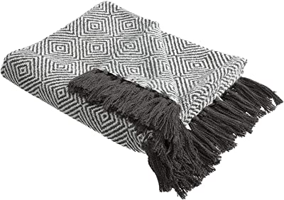 HollyHOME 60x70 Inches Oversized Luxury Soft Nap Cozy Throw Blanket with Tassels for All Season, Grey