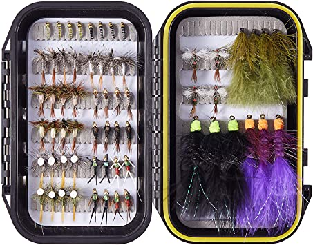 60 Trout Flies w//box Quality Trout Fly Box  Assortment