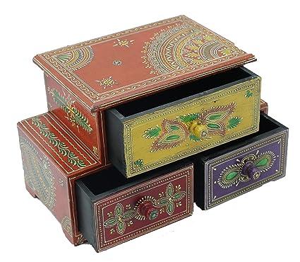 Phoenix Artworld Wooden Decorative Handmade Drawer Storage Chest Set