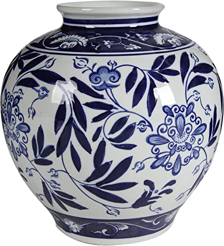 A B Home Blue and White Porcelain Vase, 8.5 x 8.5 x 9
