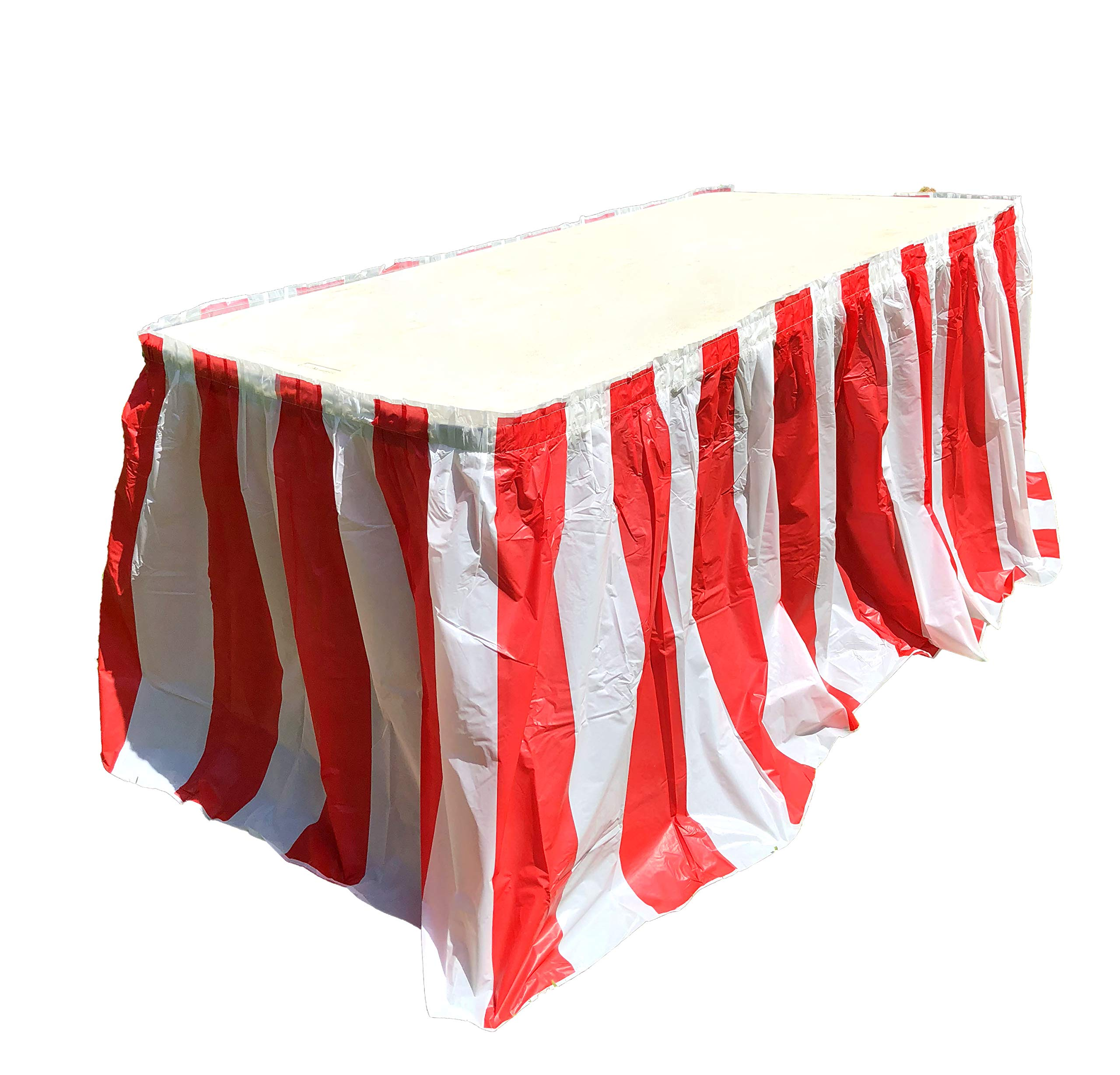 Red and White Striped Table Skirt, Carnival Style Picnic Table Skirts For Parties! (RED & WHITE, 4)
