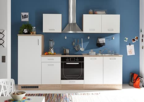 Cucina in quercia Sonoma d\'imitazione / bianco opaco d\'imitazione ...