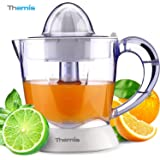 THEMIS CJ3321 Powerful 1 Liter 34-Ounce Whisper-quiet Citrus Juicer, Adjustable Pulp Control, 2 Size Juicing Cones, Electric Orange Juicer, Juice Extractor, White