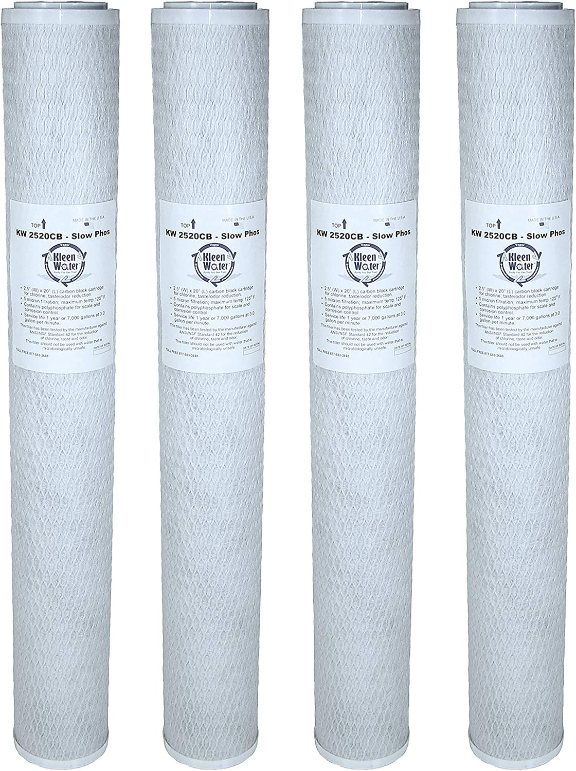 KleenWater KW2520CB-SlowPhos Carbon Block Water Filter Cartridge Pack of 4 Odor Dirt Sediment Filtration Chlorine Replacement for RCFS220