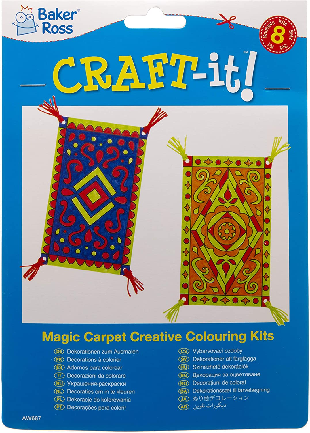 Pack of 12 Baker Ross Magic Carpet Color in Decoration Kit for Kids to Decorate and Display Thread Included
