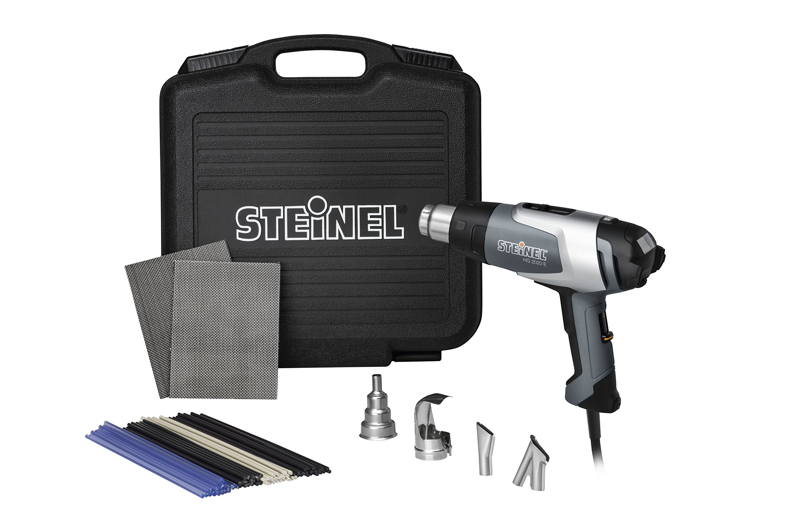 Steinel HL 2020 E Plastic Welding Kit - incl. heat gun with LCD-Display and adjustable temperature, hot air gun set for shaping and welding plastics and PVC floorings