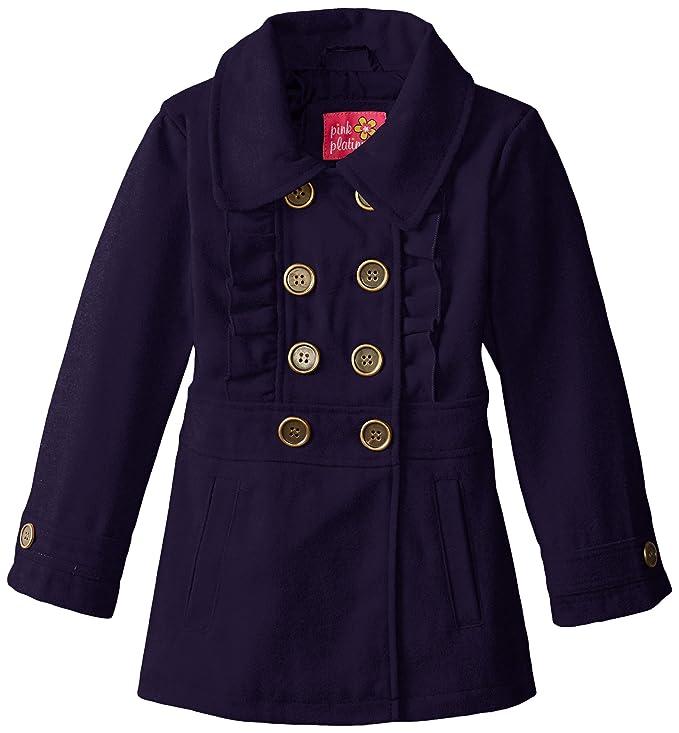 fa70608c0 Amazon.com  Pink Platinum Girls  Faux Wool Peacoat with Ruffle  Clothing