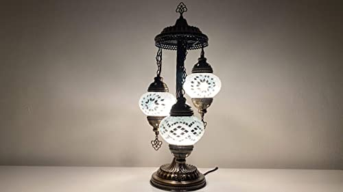Tiffany Style Mosaic Table Lamp with Various 3 Globes and Vintage Bronze Frame White