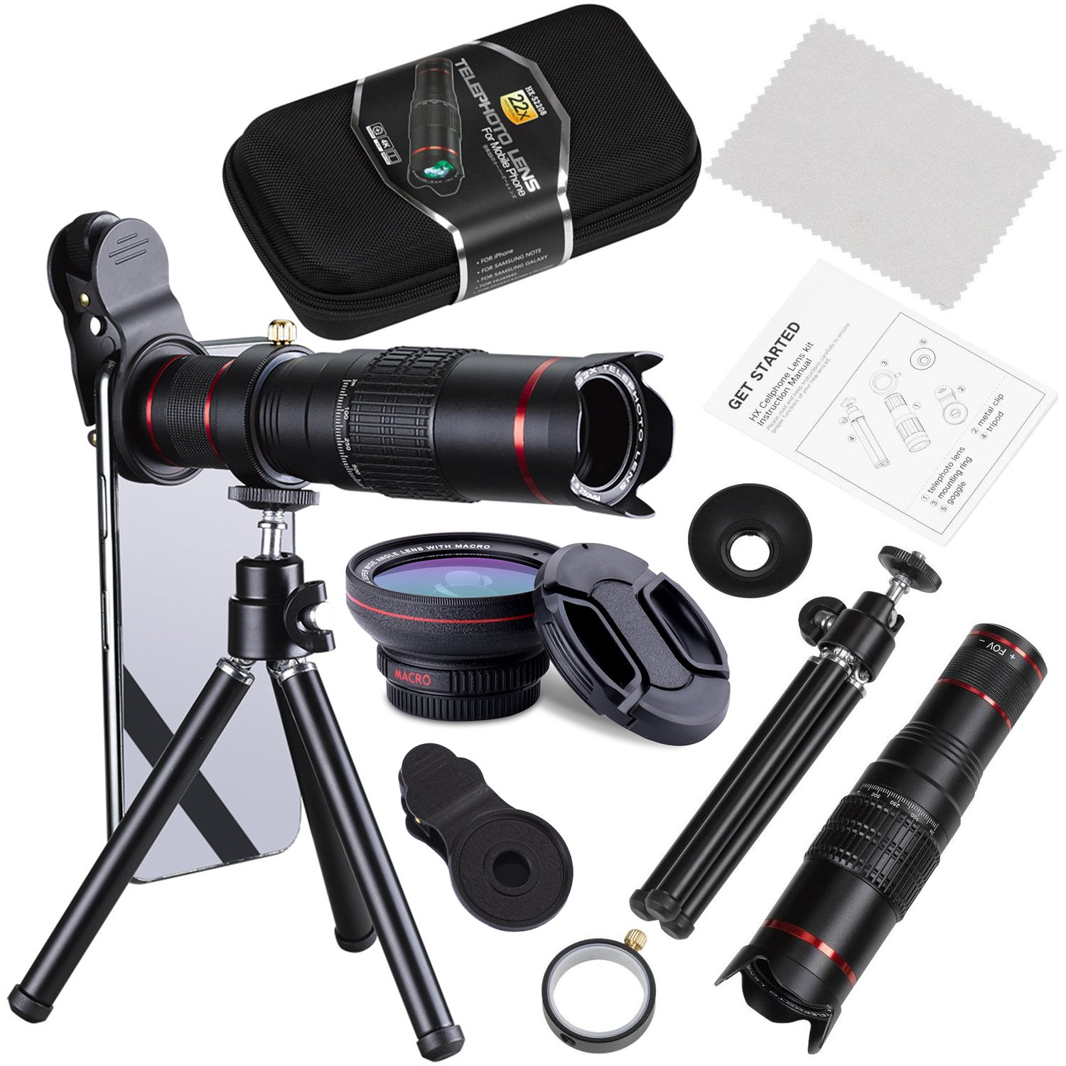 Phone Zoom Lens Kit, Addprime 4 in 1 HD Phone Camera 22X Telephoto Lens with Flexible Tripod, 0.5X Super Wide Angle Lens + 15X Macro Lens + 22X Tele Lens Phone Lens Kit for iPhone/Samsung Cellphone