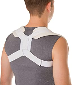 BraceAbility Figure 8 Clavicle Brace & Posture Corrector | Broken Collarbone Sling for Injuries & Fractures, Shoulder Support Strap for Upper Back Straightening (Large)