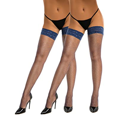 HONENNA Fishnet Thigh High Stockings Silicone Lace Top Stay Up Sheer Nylons Size A-D at Women's Clothing store