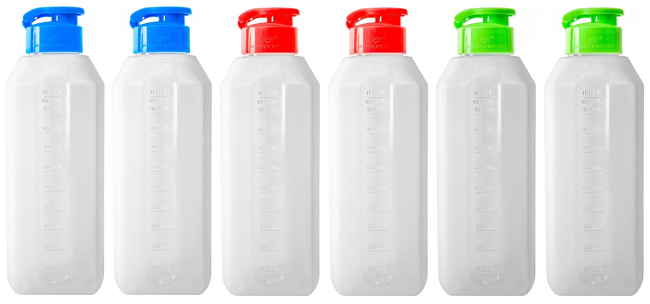 DecorRack 6 Pack Plastic Beverage Bottles, Water Sport Drinks Dressing, Measuring Mixing, Storage Container, Easy One Click Flip Screw Cap, Reusable, Leakproof, 35 oz –BPA Free– Random Colors (6 Pack)