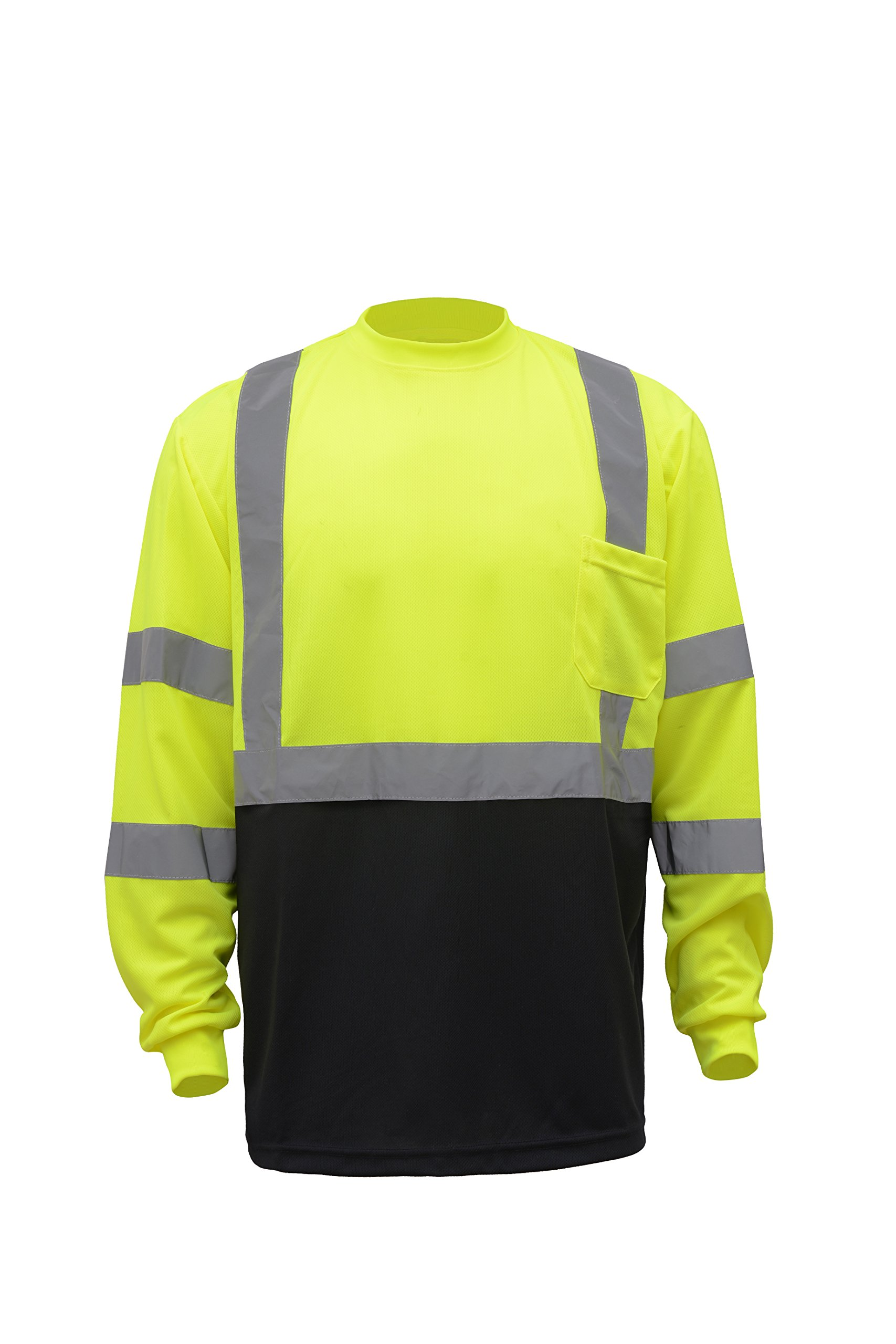 CJ Safety CJHVTS3003 ANSI Class 3 High Vis Long Sleeve Black Bottom Safety Shirt Moisture Wicking Mesh (2XL, Green)