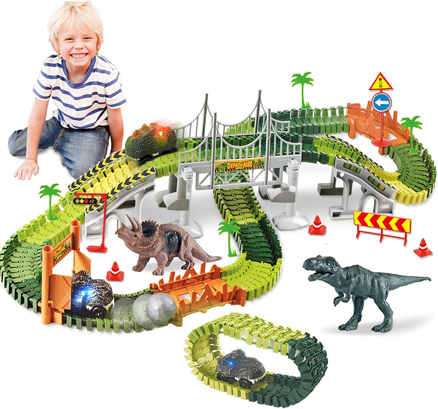 Dinosaur toy set flexible race car tracks 142 pcs  compatible with Magic tracks