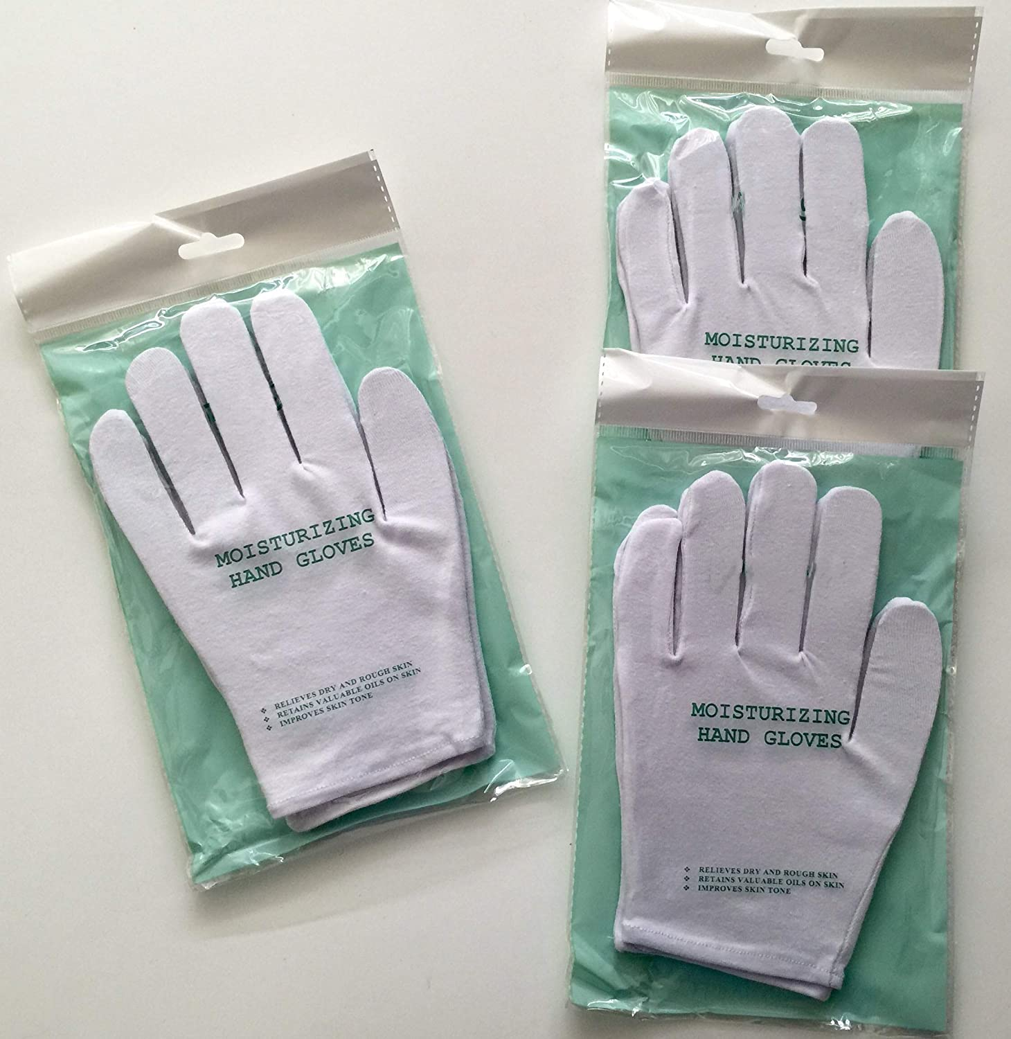 3 pairs/set Moisturizing Hand Gloves, Premium Natural Therapy Gloves For Dry Hands, 94% Cotton / 6% Spandex (Set of 3 Pairs)