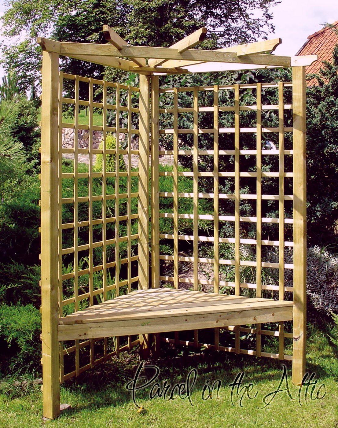 Pergola madera asiento de jardín Arbour metal works para dolores ...