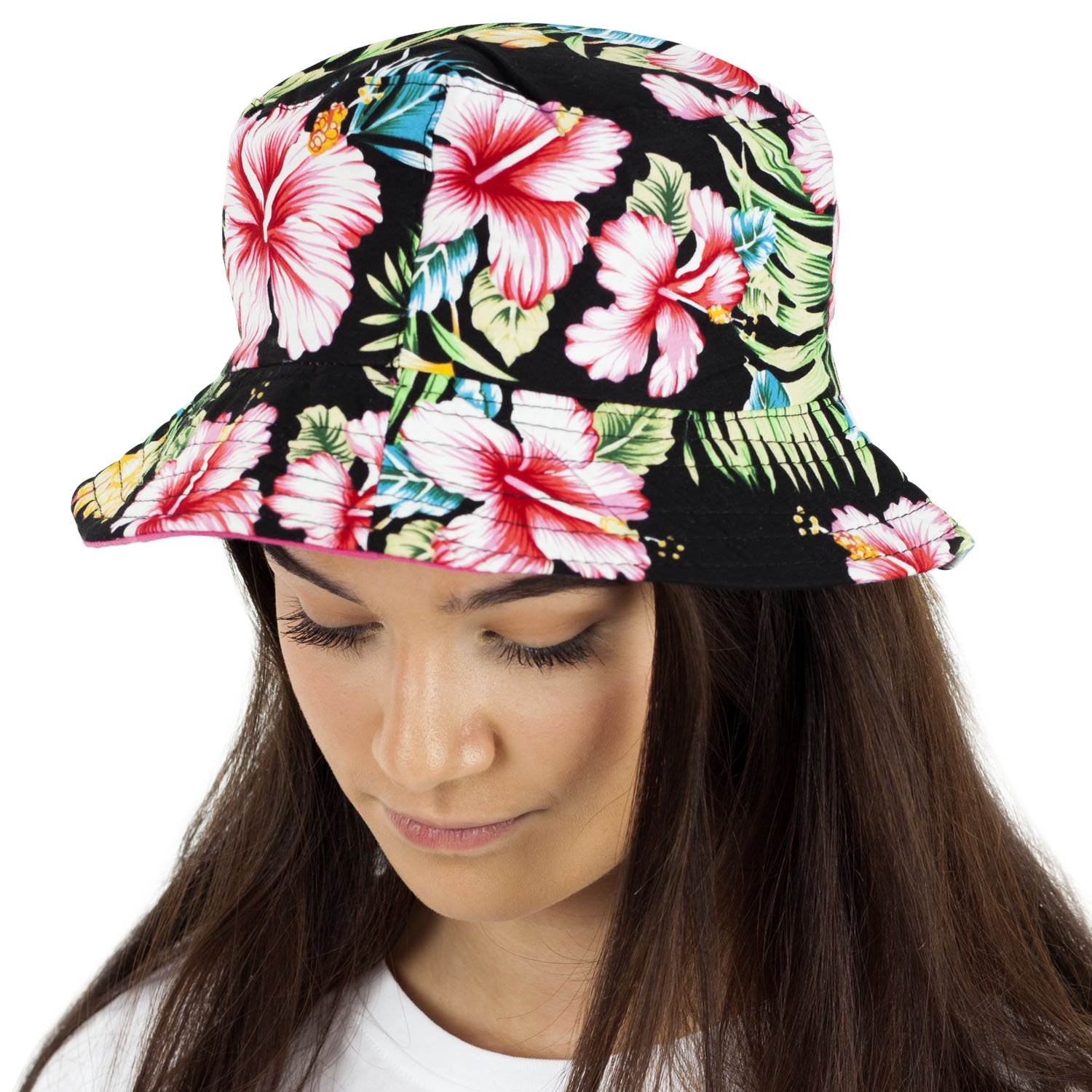 33bb137f106e89 TOSKATOK® UPF 50+ Ladies Womens Reversible Cotton Retro Floral Bush Bucket  Sun Hat product