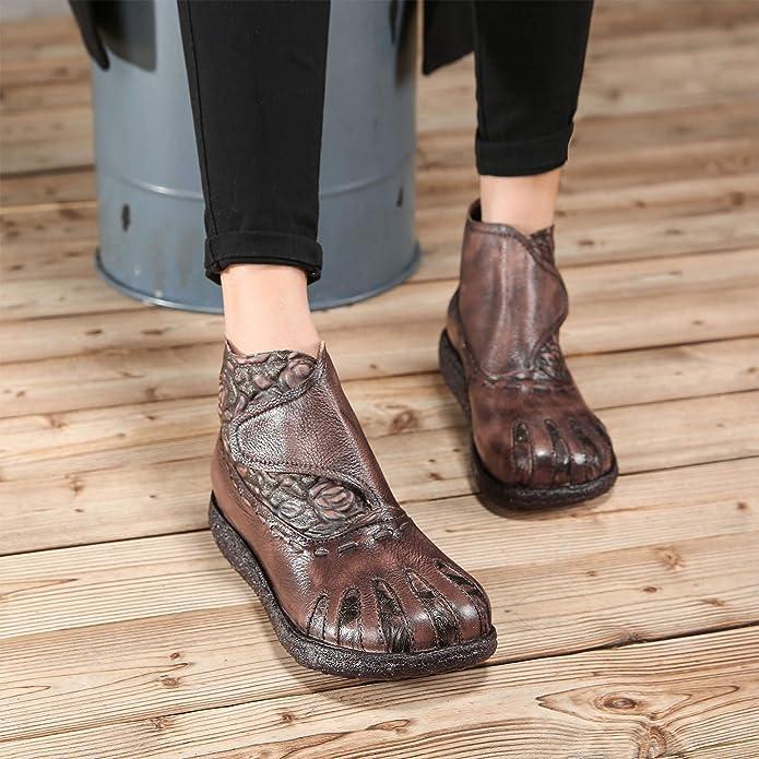 Botines de Mujer de Cuero Genuino étnico Vintage Suela Blanda y cómodas Botas de Velcro Zapatos de otoño e Invierno Hechos a Mano: Amazon.es: Zapatos y ...