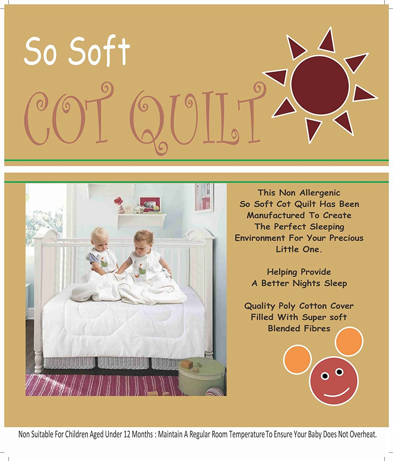 COT BED DUVET/ QUILT - NON ALLERGENIC SO SOFT HOLLOWFIBRE 4.5 TOG (120 X 150 CM APPROX) LOVE2SLEEP