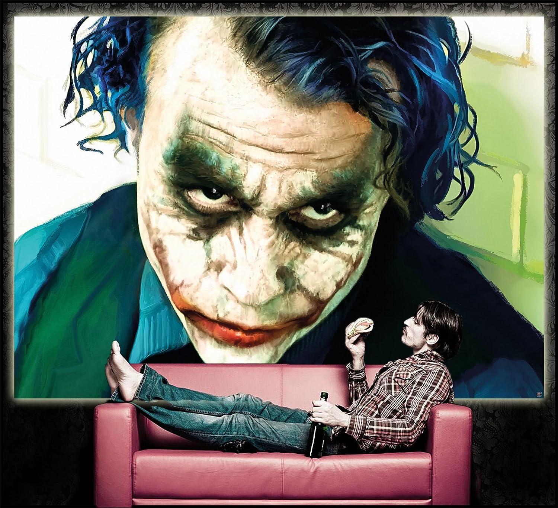 Poster Joker Mural Decoration Heath Ledger Batman The Dark Knight Clowns Movie Gotham Villain DC Comic DC Universe 55 Inch x 39.4 Inch // 140 x 100 cm Wallposter Photoposter wall mural wall decor by GREAT ART