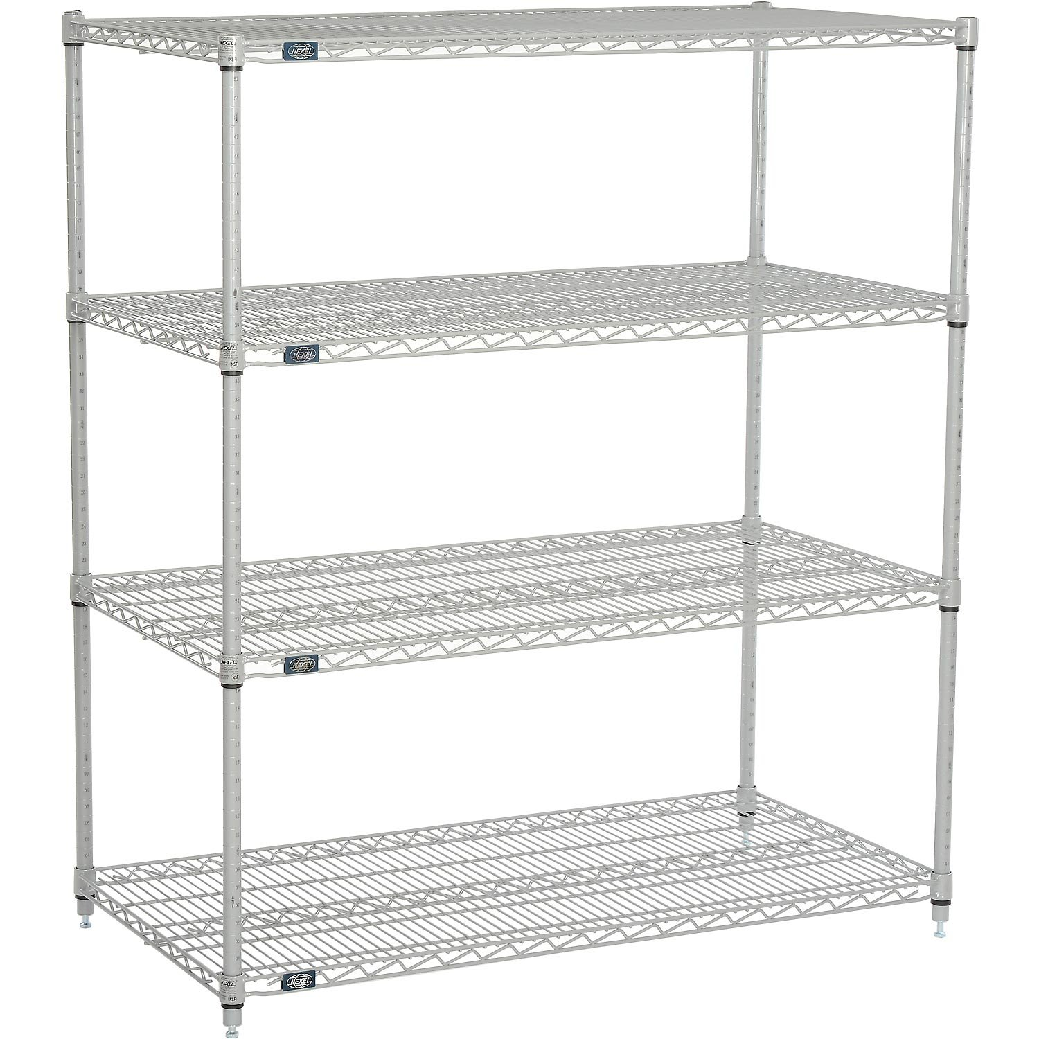 Nexelate Wire Shelving Starter Unit, Silver Epoxy, 48''W x 24''D x 54''H by Nexel
